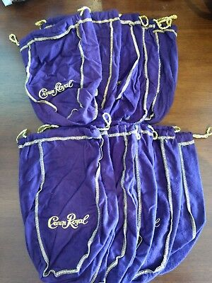 Crown Royal Lot Of 10 Purple Felt Drawstring Bags 750ml