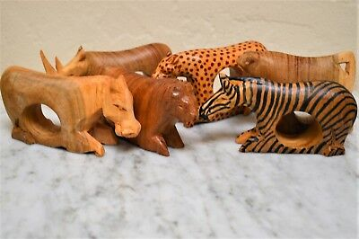 African wood napkin rings animals EC 9 lion zebra leopard rhino wooden African