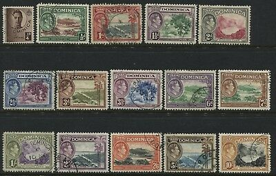 Dominica 1938 KGVI definitive set complete to 10/ used