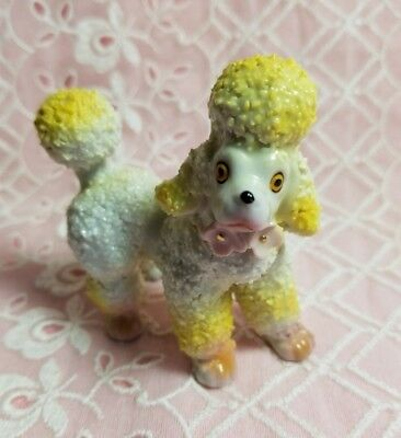 Vintage 1950's Spaghetti Poodle Dog Figurine RARE Yellow and pink accents