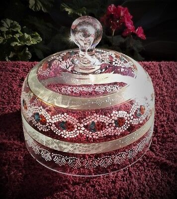 Antique Victorian Era Hand-Painted Glass Dome