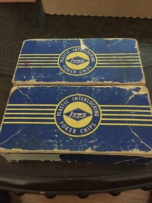 Vintage Lowe poker chips in original boxes, 2 boxes