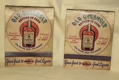 Antique Vintge(2) Oversize Matchbooks Old Overholt Whiskey Ad-Lion Match Co NYC
