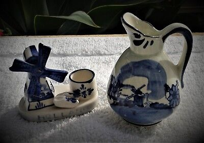 Hand-Painted Delft Dutch Blue  China Windmill Figurine & Small Jug