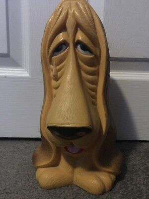 Vintage Sad Droopy Dog Face Bassett Hound Coin Bank Homecraft Plastic Droop Dog