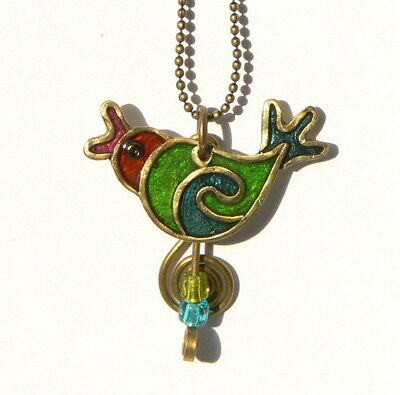 Song Bird Necklace Colorful Humming Bird Pendant Handcrafted by Artist