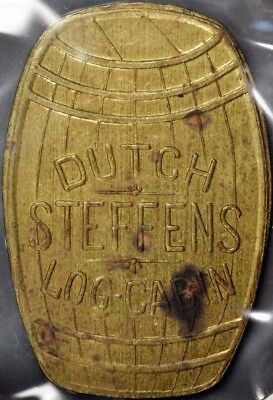 Dutch Steffens Log Cabin Token Barrel Shape — Good for 5c in Trade