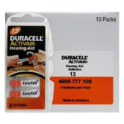 Duracell 13 Activair Mercury Free Hearing Aid Batteries Size 13  (80-160)