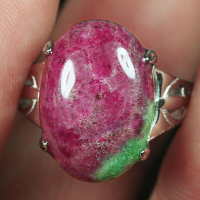 23CT 100% Natural 18K Gold Plated Red Green Bi Color Ruby In Zoisite Ring UDRG88
