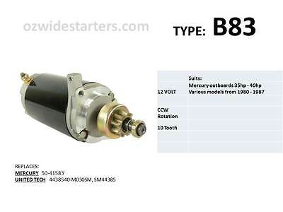 Mercury starter motor suits 35hp-40hp from 1980-1987