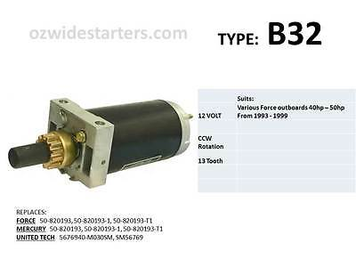 Force starter motor suits 40hp-50hp from 1992-1999.