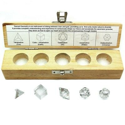 Crystal Quartz 5 Piece Platonic Solid Chakra Reiki Healing Sacred Geometry Set