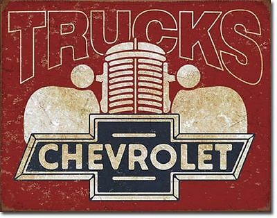 Chevy Truck Vintage Metal Tin Sign Auto Garage Shop Chevrolet Parts Wall Decor