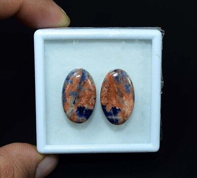 21.10 Cts. 100% Natural Pair Of Multi Sodalite Oval Cabochon Loose Gemstones