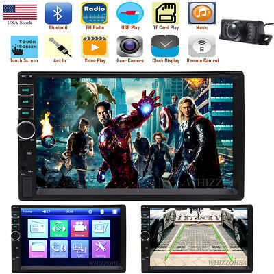 "USA Bluetooth Car Stereo Radio 2 DIN 7"" HD MP5 FM Player Touch Screen +Camera"