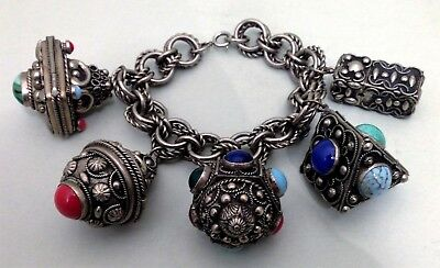 Antique silver & stone Indian/Middle Eastern compartment bracelet