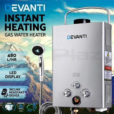 ^Devanti Gas Hot Water Heater Portable Shower Camping LPG Outdoor Instant 4WD SR