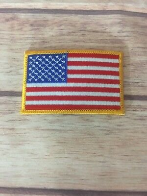 AMERICAN FLAG EMBROIDERED PATCH iron on yellow BORDER US UNITED STATES