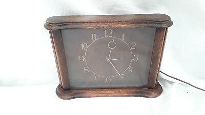 Art Deco oak cased Antique Clock Smiths Sectric Electric Mantel Working Order