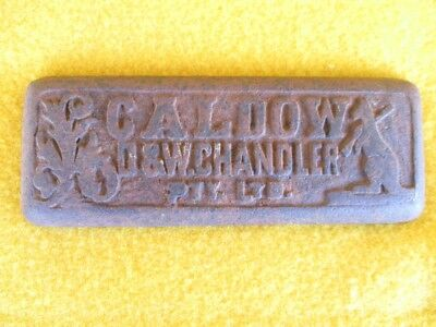 Vintage Cast Iron Badge Plaque Sign Caldow Chandler Farm Implement Hardware Old