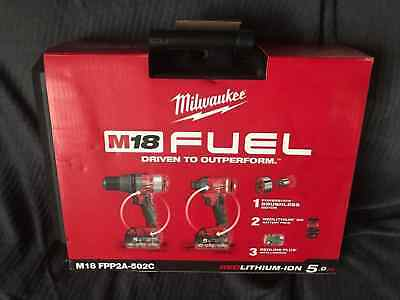 Milwaukee fuel brushless combo kit m18 fppp2a-502c drill impact battery case etc