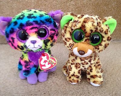 Ty Beanie Boo Leopards, Trixie, Justice Exclusive & Speckles, Blue Tag Retired