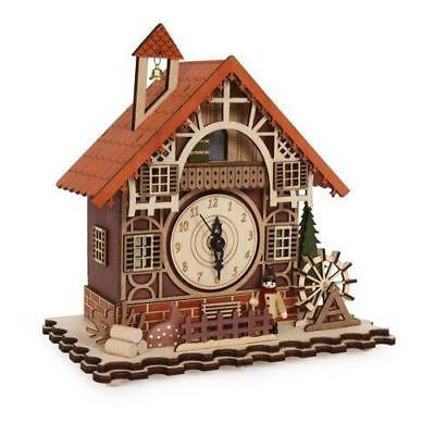 Swiss Style Cuckoo Clock Timber Framed Music Box With Led Night Battery Powered