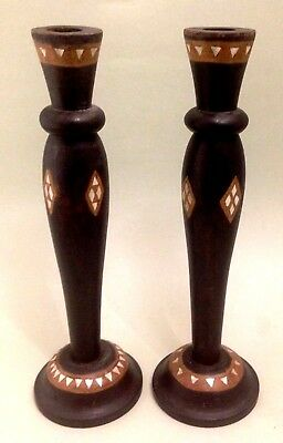 Pair of vintage wooden candle sticks with Mother of pearl inlaid