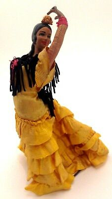 Antique boudoir Spanish dancing cloth & composition doll on stand