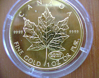 1 Unze Gold Maple Leaf - Privy Mark 1999 20 Years top und rarität