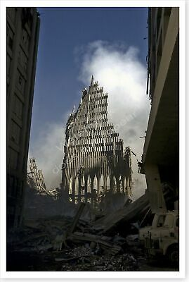 Ground Zero Fire Fighter South Tower Facade 9//11 Aftermath Silver Halide Photo