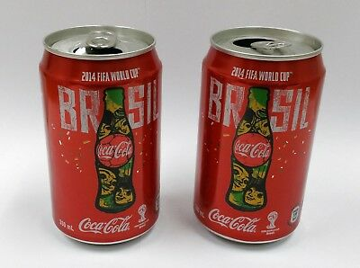 Collectible Lot of 2 FIFA World Cup 2014 Brasil Coca-Cola 330mL Drink Cans Rare