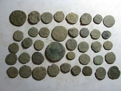 Very interesting lot of 40 Roman uncleaned coins all sizes l/4