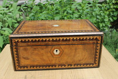 Antique Wooden Box Inlaid Mother of Pearl & Marquetry