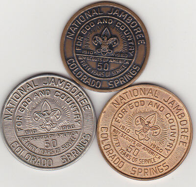 3 Boy Scouts Of America So-Called Dollar HK577 UNC 1960 Original, Brass & Pewter