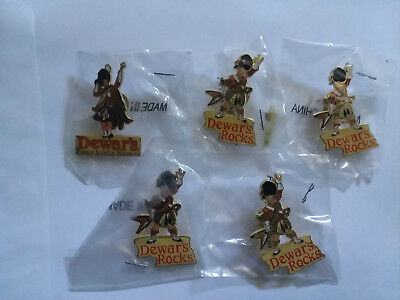 Dewar's Rocks Lapel Pin -lot of 5 sealed!  - Guitar Playing Scotsman - New!