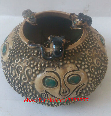 China's old handmade exquisite snakes and rats ceramic pot of hongshan culture