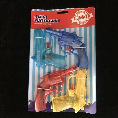 Set of 4 Small Water Gun Pistols Kids Water Games Fun Party Fillers Summer Toy