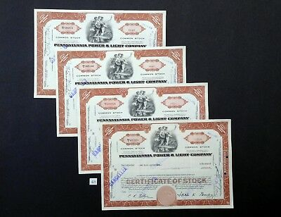F48 Pennsylvania Power & Light Co, stock certificates, Lot of 4