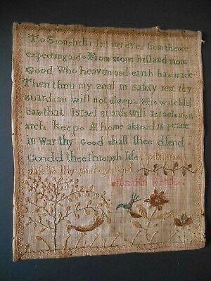 18th/19th century Antique Needlework sampler Sion Israel unusual work and verse