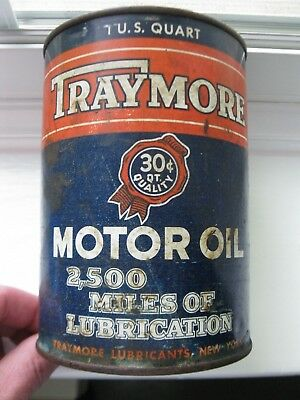 Rare...Vintage Original Traymore Motor Oil Can Quart Metal 30 Cents Can