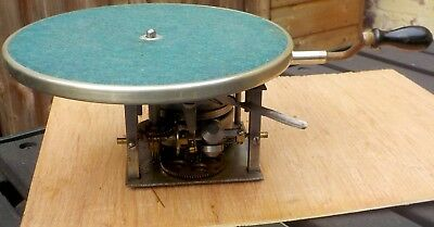 Early 1920s Double-spring Apollo gramophone motor with turntable, winding handle