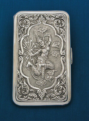 Kui Kee - Siam - Sterling Silver - Cigarette Case - Dancer Goddess Of Lightning