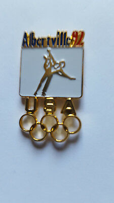Vintage 1992 Albertville Winter Olympics Figure Skating Lapel Pin Rare