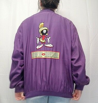 Vtg 90s Marvin the Martian Looney Tunes Purple Silk Bomber Jacket LARGE Rare!