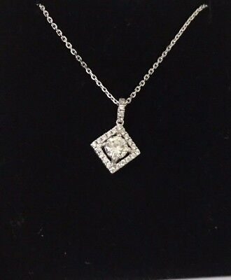 "Beautiful £2,400 18Ct White Gold Diamond Halo Necklace - 0.65 Ct - 16.5"" Chain"