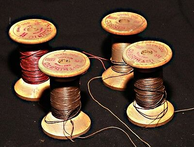 Lot Of Four Collectible Wooden Sewing Thread Spools The American Thread Company