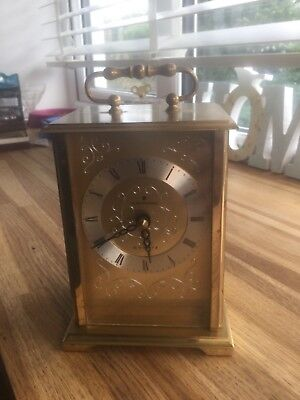JUNGHANS SOLID BRASS CARRIAGE CLOCK QUARTS 160mm HIGH x 100mm x 90mm