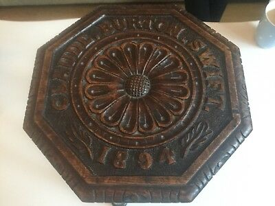 Victorian 3 Legged Stool With Well Carved Flower & Claude,burton,swift,1894 12.5