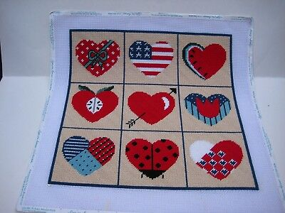 Completed / Perfectly Stitched 9 cute Heart HP Canvas Apple Flag Ladybug melon